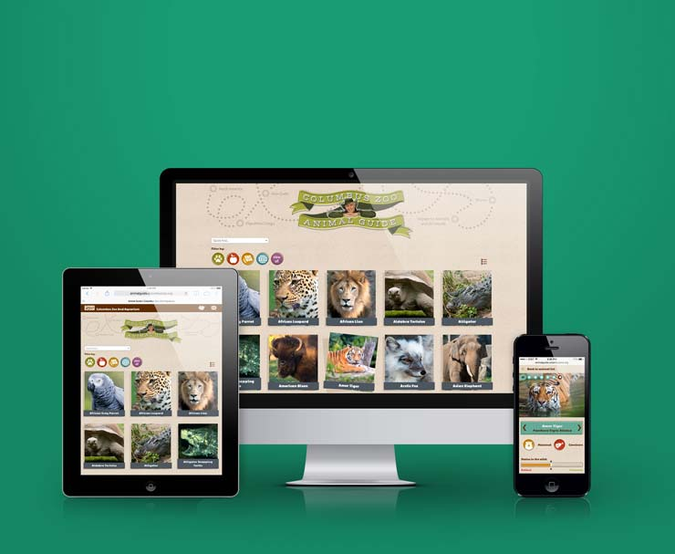 image of the Columbus Zoo Animal Guide website on multiple devices